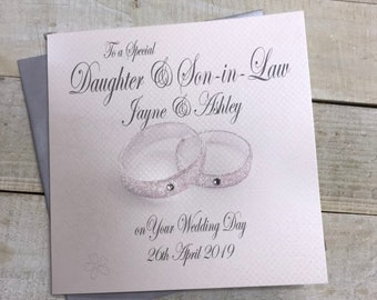 Personalised Wedding Card - Daughter/Son & Son/Daughter-in-Law Rings Design PPS82/PPS83 Bespoke handmade wedding card for a special couple