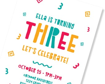 3 Year Old Birthday Party Invite