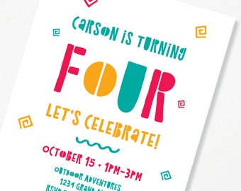 4 Year Old Birthday Party Invite