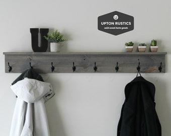 Rustic Coat Rack Shelf, Wall Coat Rack With Shelf, Wall Shelf With Hooks,  Entryway Shelf, Coat Rack Wall, Rustic Home Decor, Wall Decor
