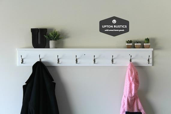 White Towel Rack With Hooks Bathroom With Shelf Wood Towel Etsy