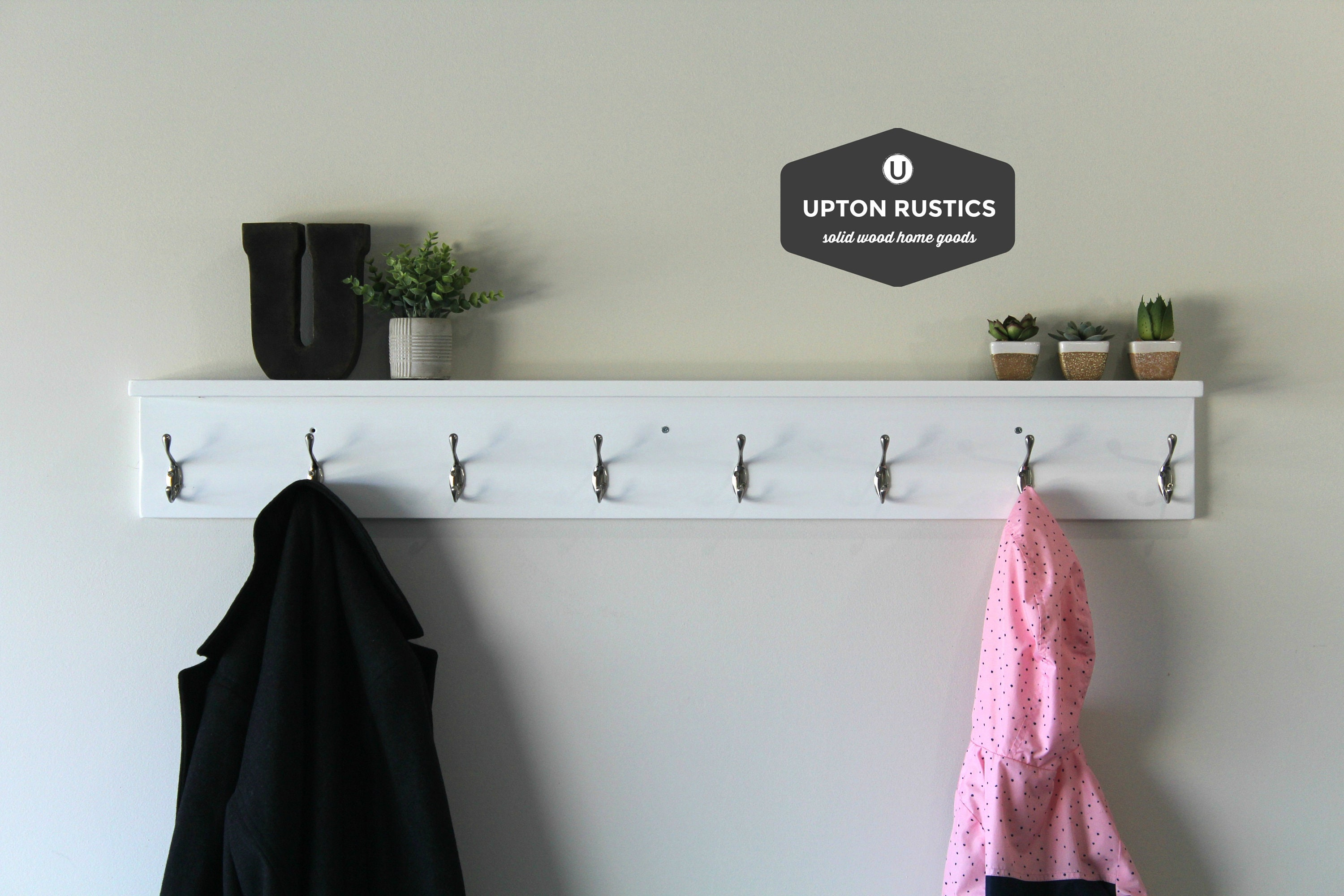Etsy & White Towel Rack with Hooks Bathroom with Shelf Wood Towel Rack Wall Towel Hooks Hooks on Wood Hook Rack Hook Shelf Hooks and Racks