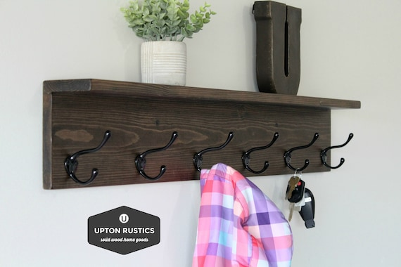 Rustic Coat Rack Shelf Wall Coat Rack with Shelf Wall Shelf | Etsy