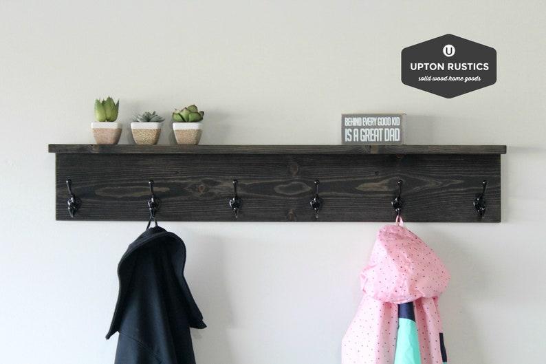 rustic coat rack shelf wall coat rack with shelf wall shelf etsy rh etsy com coat hangers shelf coat hanger shelf with crown molding