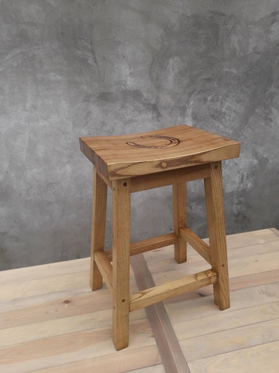 Stupendous Ash Wood Bar Stool With Carved Horseshoe Bralicious Painted Fabric Chair Ideas Braliciousco