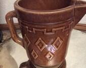 Vintage stoneware milk pitcher brown glaze, diamond pattern