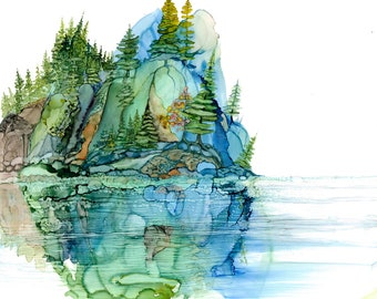 11x14 alcohol ink painting grey /& blue-green