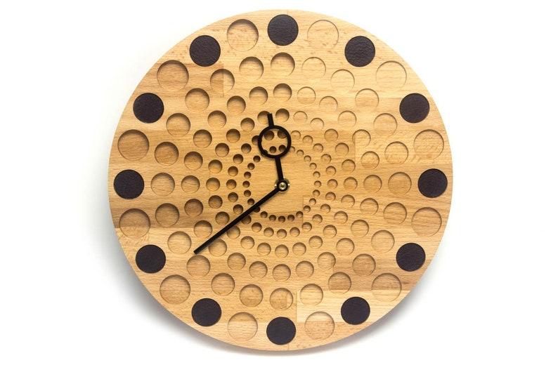 ac609ab7d7 Orologio da parete in legno e cuoio. Ø30cm Orologio di legno | Etsy