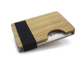 High quality credit card holder made of wood - akazie | Credit card holder with lock | minimalist design
