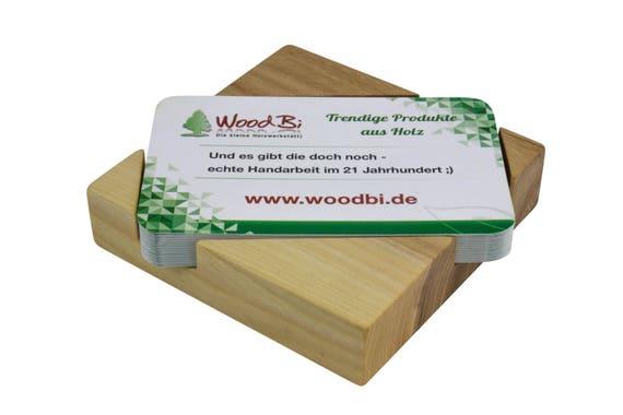 Woodbi Hochwertige Visitenkartenbox Aus Akazienbaum Visitenkartenhalter Aus Holz Visitenkartenständer