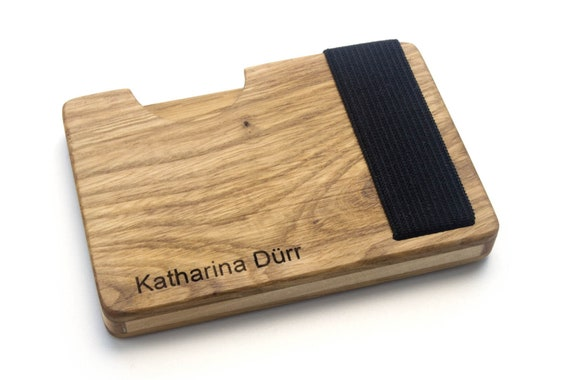 High Quality Credit Card Holder Made Of Wood Oak Credit Card Holder With Lock Minimalist Design