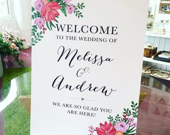 Vibrant Floral A2 Welcome Sign