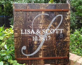Personalized Monogram Signs for your special day/Wedding Gift/Anniversary/Last Name/Family Heirloom/Rustic/Shabby Chic/Pallet/Vintage