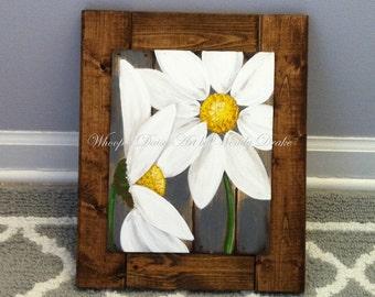 Gerbera Daisy Framed Art, Kitchen Farm House Decor, Framed Daisy Painting,  Framed Daisy Artwork, Framed Art For The Home, Motheru0027s Day Gift