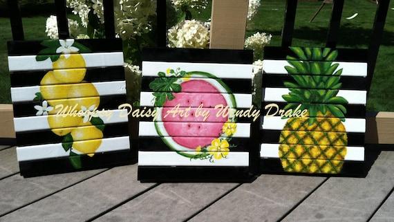 Citrus Fruit Painting Kitchen Art Sunroom Ideas Sunroom Decor Watermelon Art Lemon Decor Pinapple Art Housewarming Gift Art
