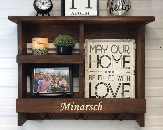 Personalized Wedding Gift | Rustic Entry Wall Organizer | Wooden Shelf | Coat Hooks | Key Hooks | Doorway Decor | Rustic Engraved Gift