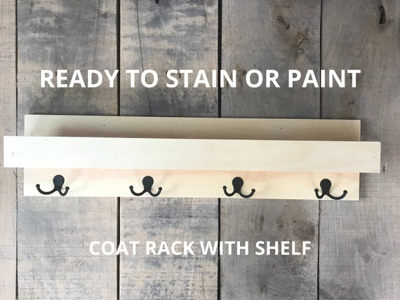 Coat Rack with Shelf UNSTAINED | DIY Coat Rack with Shelf and Dual Coat Hooks