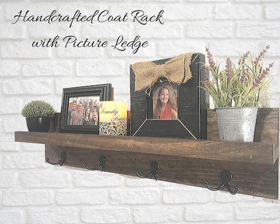 Coat Rack with Shelf | Picture Ledge with Coat Hooks | Rustic Wooden Coat Rack with Dual Hooks and Ledge Shelf | Entry Shelf |