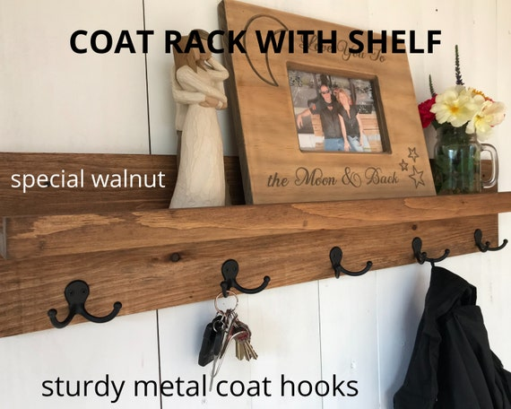 Coat Rack with Shelf | Coat Rack Wall Mount with Hooks | Rustic Entryway Organization | Entryway Coat Rack Shelf with Hooks | Coat Hooks