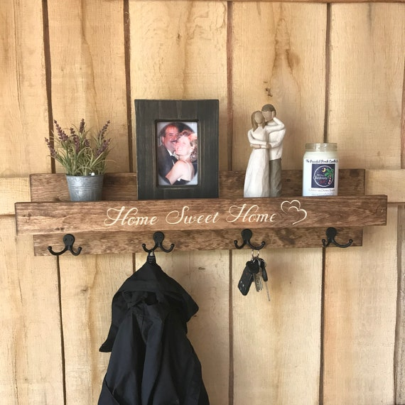 READY TO SHIP | Coat Rack with Shelf Engraved | Home Sweet Home | Rustic Wooden Coat Rack with Dual Hooks and Ledge Shelf | Entry Shelf
