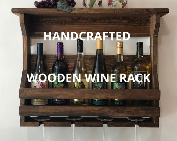 Hanging Wine Rack | Double Front Board | Wall Mount Wine Rack | Wooden Wine Rack | Wall Mounted Wine Rack | Wine Gift | Pub Decor