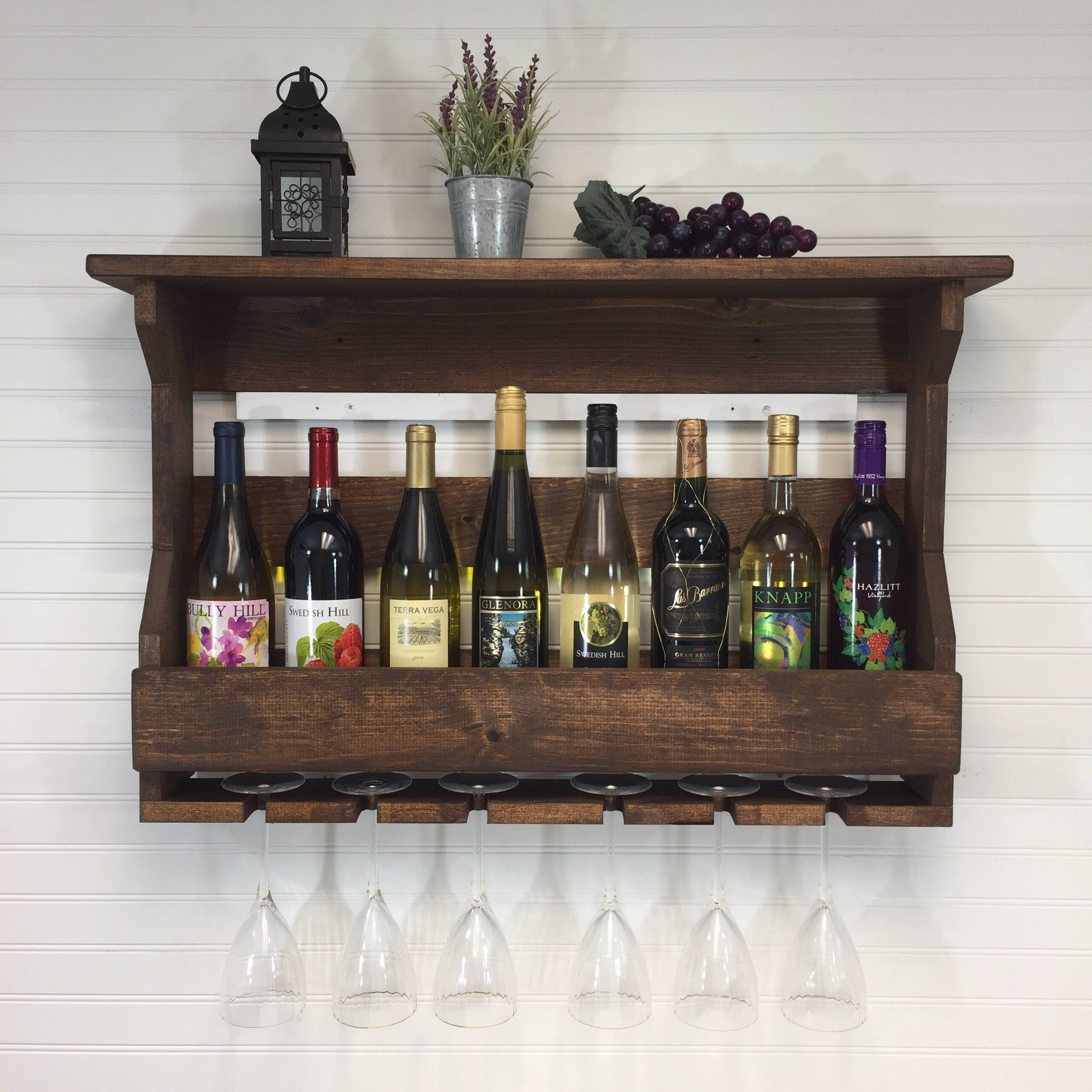 Wooden Wine Rack Wall Mounted Wine Rack Handcrafted Rustic