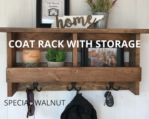Coat Rack Wall Mount Shelf | Coat Rack with Storage | Entryway Coat Rack with Cubbies | Wall Organizer Shelf with Hooks | Farmhouse Rustic