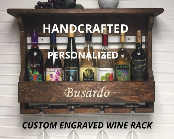 Wine Rack Wall Mounted Personalized   Wedding Gift   Custom Engraved Wooden Wine Rack   Rustic Wine Rack   Gift for couples   Gift for Her