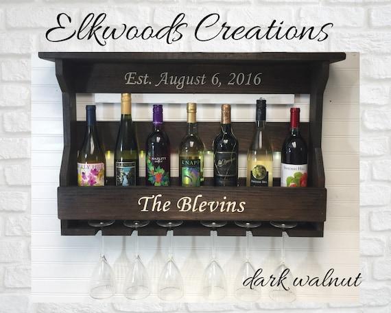 Personalized Wine Rack | Wine Bottle and Glass Display | Wine Storage | 5th Anniversary Gift | Custom Wedding Gift | Housewarming Gift