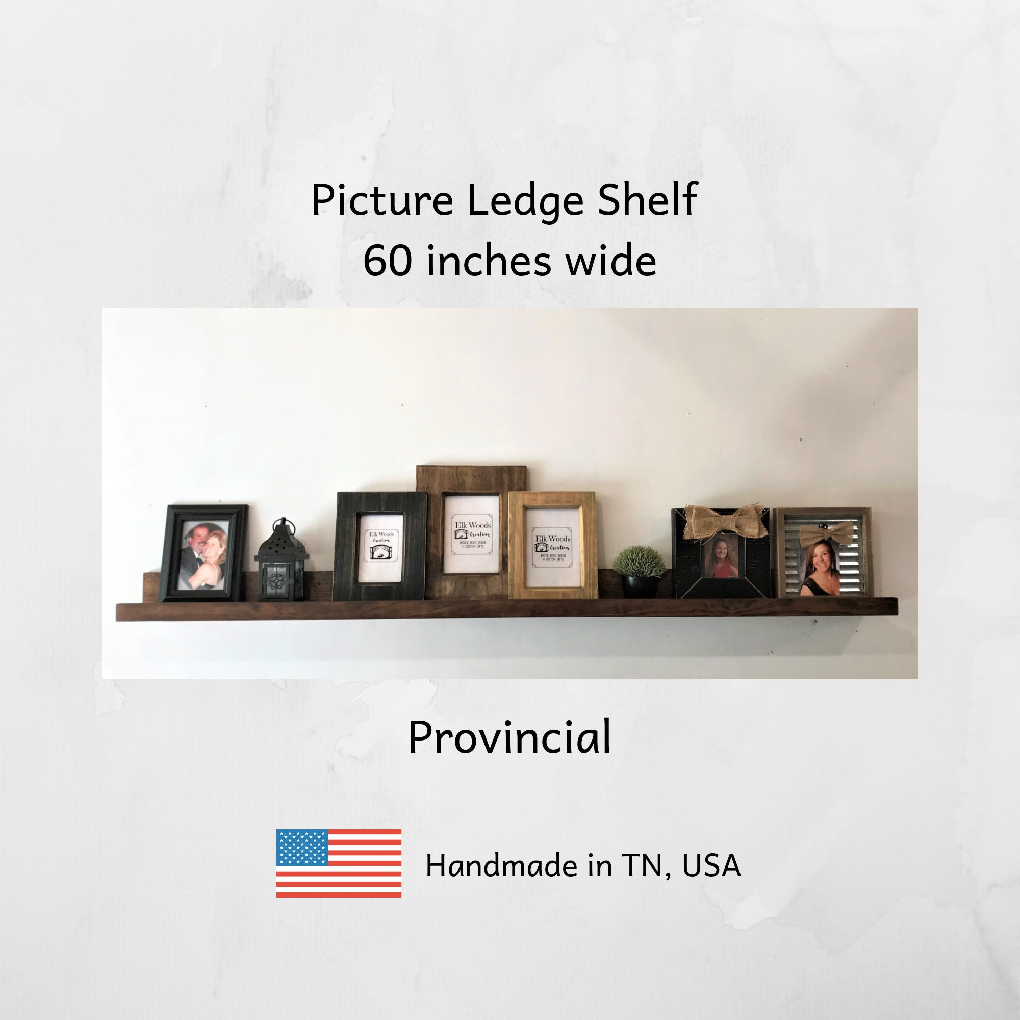 Picture Ledge 60 Inches Wide Rustic Wooden Picture Shelf Photo