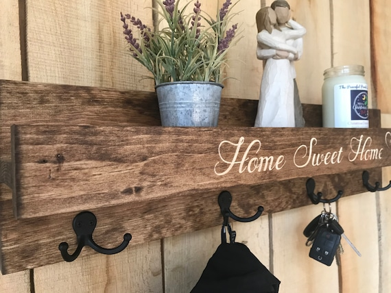 READY TO SHIP   Coat Rack with Shelf Engraved   Home Sweet Home   Rustic Wooden Coat Rack with Dual Hooks and Ledge Shelf   Entry Shelf