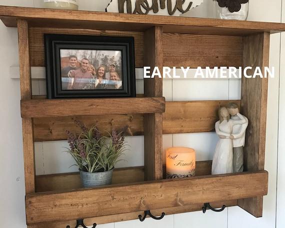 Entry Shelf with Hooks | Rustic Wooden Bathroom Storage Shelf | Wall Organizer | Coat Rack | Key Holder | Entryway Decor | Rustic Decor