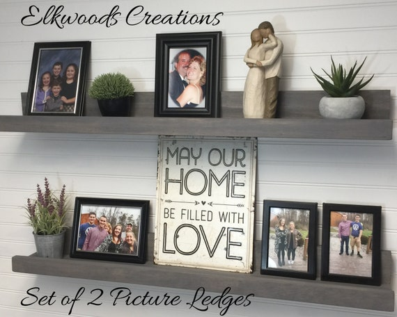 Rustic Picture Ledge Shelves Set of 2 | Gallery Display Shelves | Book Shelves | Pairs of 12-72 Inches | 3.5 Inch Usable Shelf