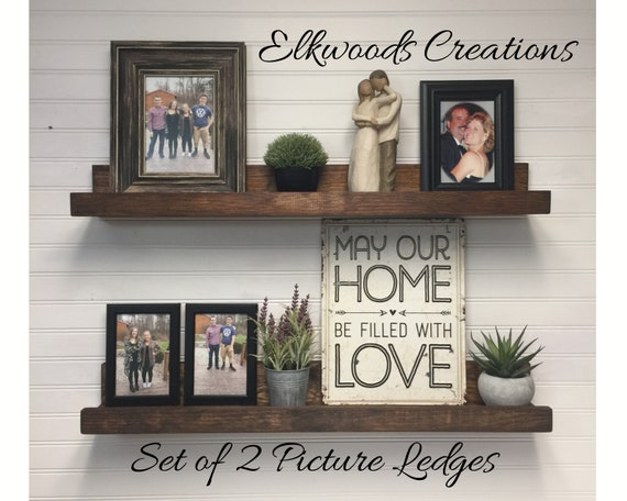 Set of Two Rustic Picture Ledge Shelves | Gallery Display Shelves | Book Shelves | Pairs of 12-72 Inches | 3.5 Inch Usable Shelf