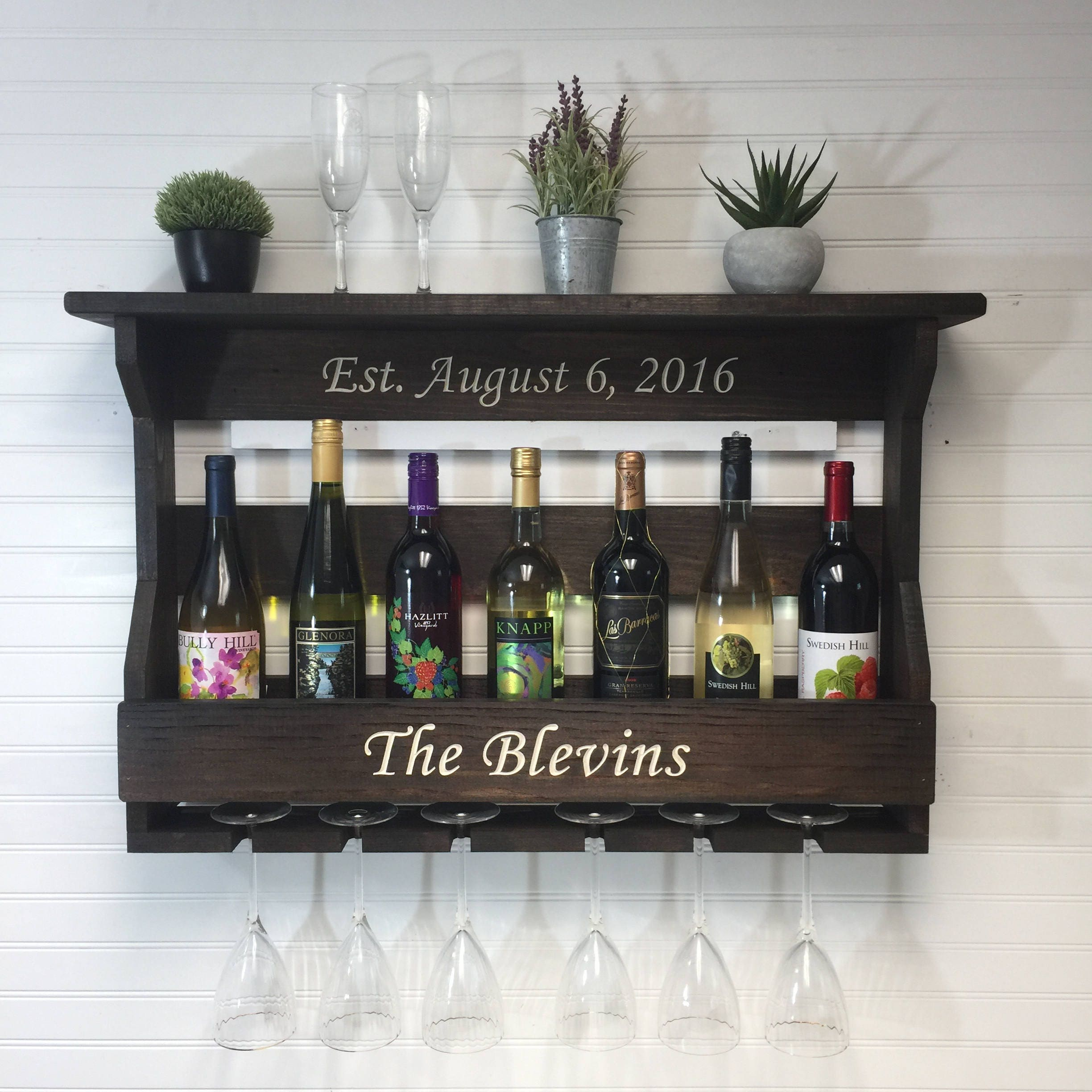 Personalized Wine Rack Wall Hanging Engraved Wooden Wine