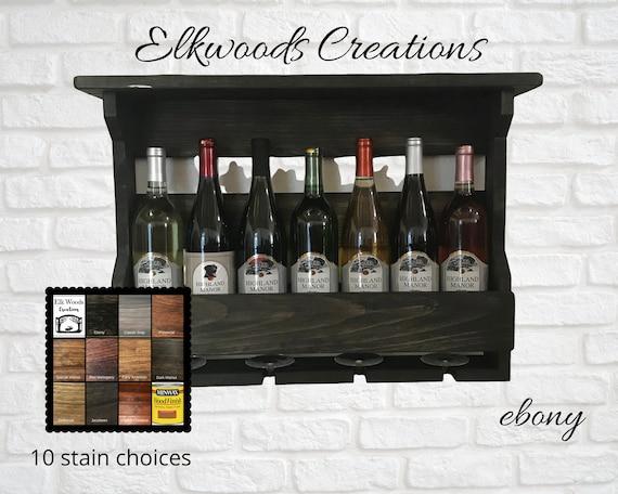 Wood Wine Rack Small Single Front Board | Wine Storage Wall Mounted | Wine Glass Rack | 5th Anniversary | Housewarming Gift | Wedding Gift