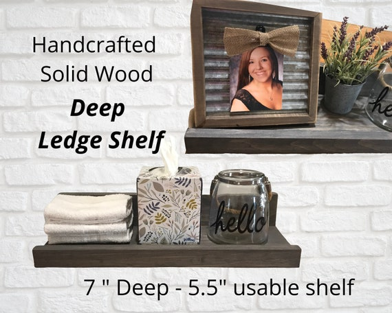 Picture Ledge Shelf - 7 inch deep (5.5 inch usable) Storage and Display Shelf - 12-36 inches wide - Deep Ledge Shelf