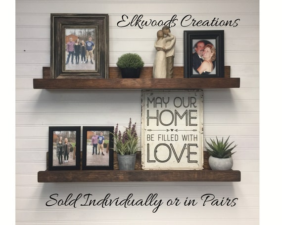 Rustic Picture Ledge Shelf | Sold Individually or in Pairs | Gallery Display Shelves | Standard Lengths 12-72 Inches | 3.5 Inch Usable Shelf