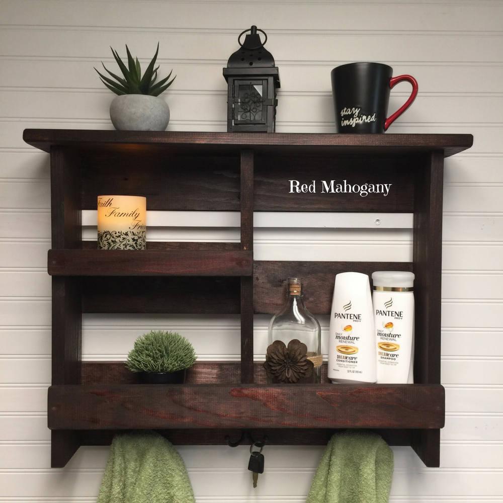 Bathroom Shelf | Bathroom Storage | Rustic Bath Towel Rack ...