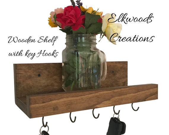 Rustic Shelf and 5 Key Hooks | Wooden Shelf with Cup Hooks | Solid Wood Shelf with 5 Metal Cup Hooks