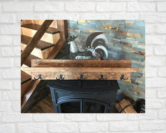 Coat Rack with Shelf | Picture Ledge with Dual Metal Coat Hooks | Rustic Wooden Coat Rack with 5 Dual Hooks and Ledge Shelf | Entry Shelf |