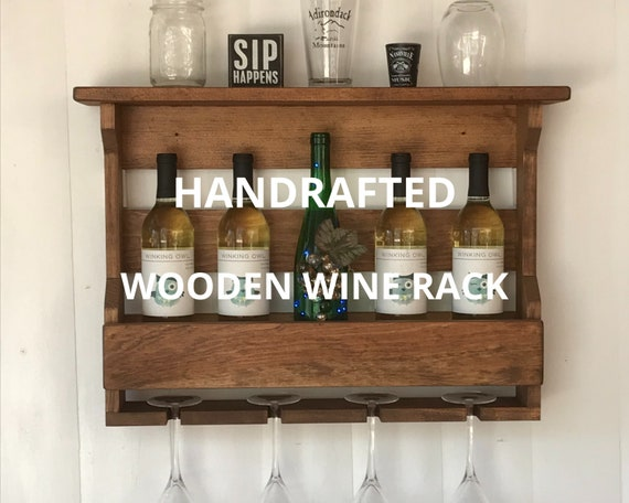 Wine Rack Wall Mounted | Rustic Wine Rack | Wooden Wine Rack | Wine Glass Rack | 5th Anniversary | Housewarming Gift | Wedding Gift