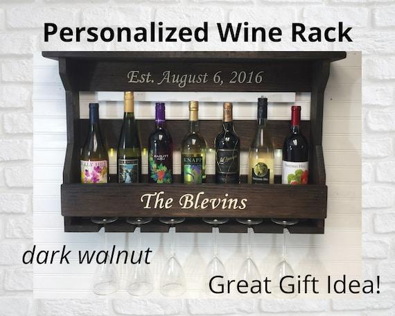 Wedding Gift Wine Rack | Personalized Wedding Gift | Wine Rack Wall Mounted | Rustic Wine Shelf | Custom Wine Rack | Housewarming Gift