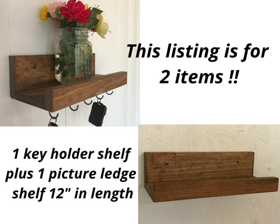 Key Holder with Shelf PLUS picture ledge   Entry Key Holder Shelf with Cup Hooks   Hanging Key Holder Shelf   Key Rack