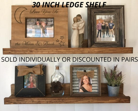 30 Inch Picture Ledges | Wooden 30 Inch Floating Shelves | Wall Shelves for Living Room | Nursery Shelf |  Rustic Wall Decor