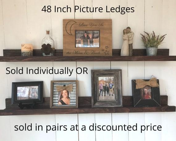 Picture Ledge Shelf 48 Inches Wide| Rustic Wooden Floating Ledge Shelf | Photo Shelf | 48 Inch Wall Shelf | Gallery Shelf | Nursery Shelf