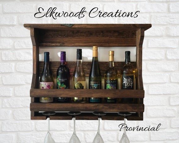 Wooden wine rack large double front board | Wall mounted wine rack | rustic home decor | Wall mount wine cabinet | Wedding gift | Pub Decor