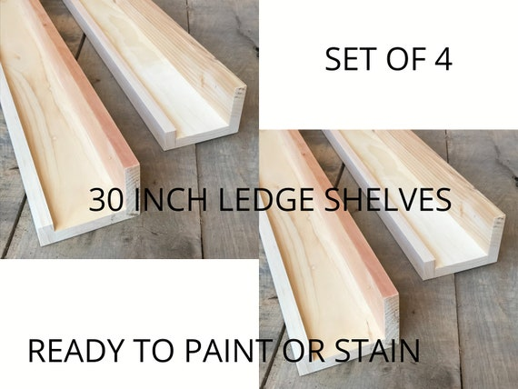 READY TO STAIN or paint | Set of 4  Wall Shelves | For Living Room | For Bedroom | For Books | Wooden Shelves | Floating Picture Ledge Shelf
