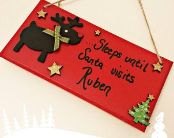 Personalised Christmas countdown, sleeps to Santa, Christmas decoration, sleeps to Christmas, chalkboard, advent calendar, personalised