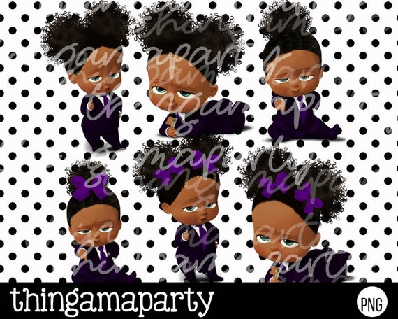 Light Skin African American Sassy Boss Baby Girl In Purple Babies Of Color Set Afro Puffs Clipart Instant Download